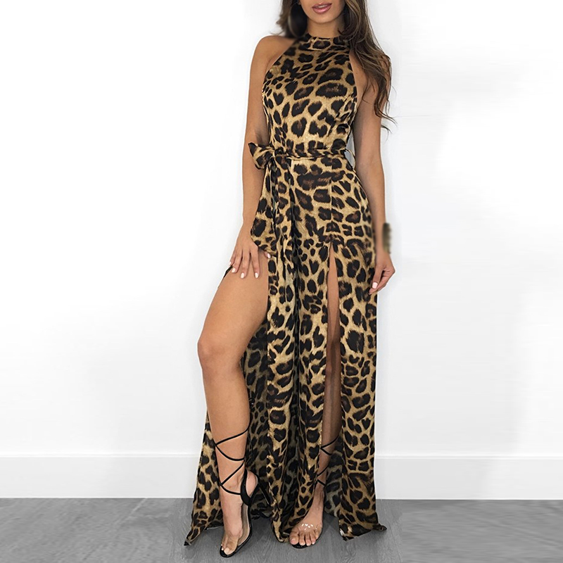 Rompers Womens Jumpsuit Mono Mujer Spring Sexy Leopard Jumpsuit Halter Split Party Wide Leg Jumpsuits Clubwear Overalls Ladies