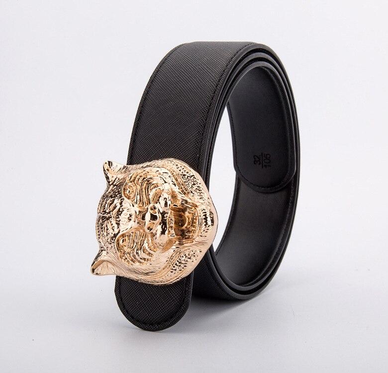 Image 4 - Wild Personality Mens Belt Tiger Head Pattern Metal Buckle Strap Male Leather Belt Western Cowboy Style Belt Gift For MenMens Belts   -