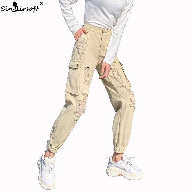 2019 Modis High Waist Denim Cargo Pants Women Boyfriend Streetwear Casual Joggers Pants Ladies Loose Ripped Hole Jeans Trousers