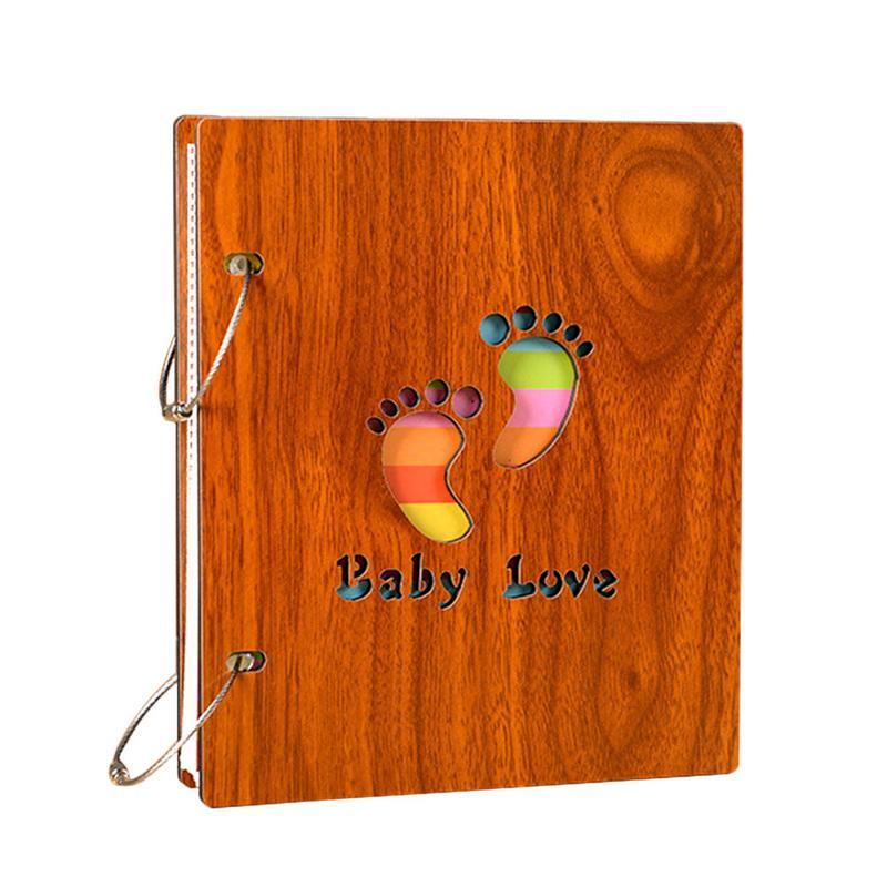 Baby Wooden Handprint Footprint Growth Album Newborn Large Capacity Album Infant Souvenirs Birthday Gift