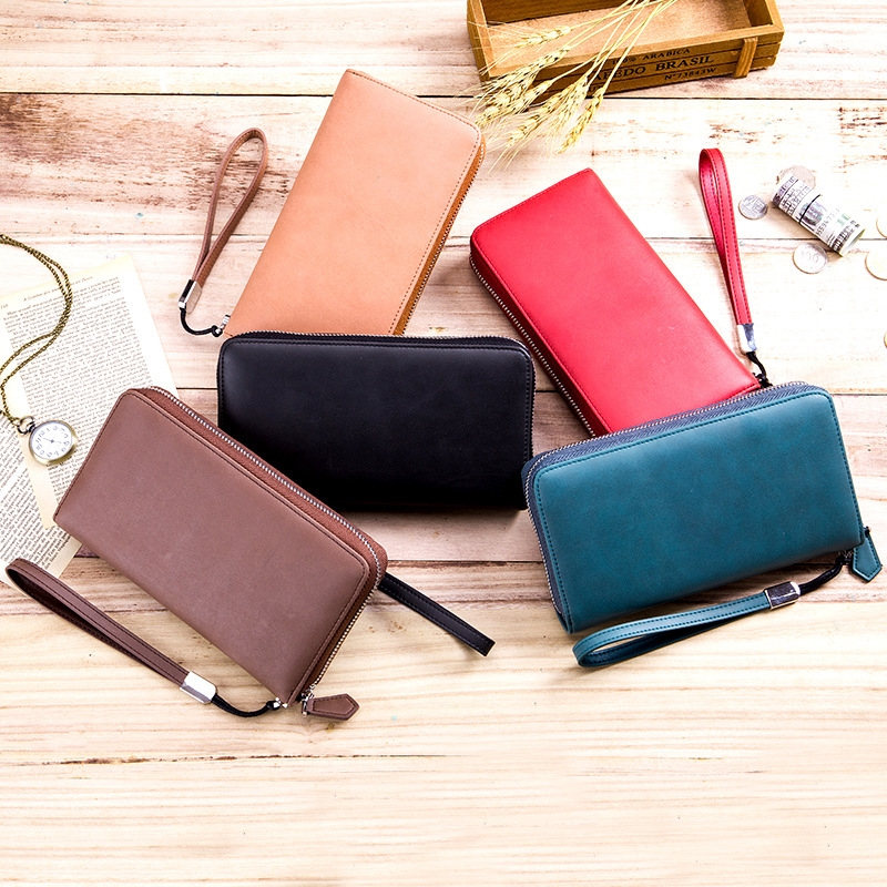 Wallet Long Men 39 s Multi Card Leather Large Capacity Card Bag Clutch Bag Female Zipper Phone Bag in Wallets from Luggage amp Bags