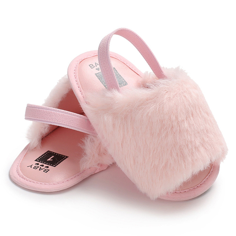 Newborn Infant Princess Baby Girl Fur Sandals Soft Sole Flat Shoes Casual Fashion Summer Sandals For Kids