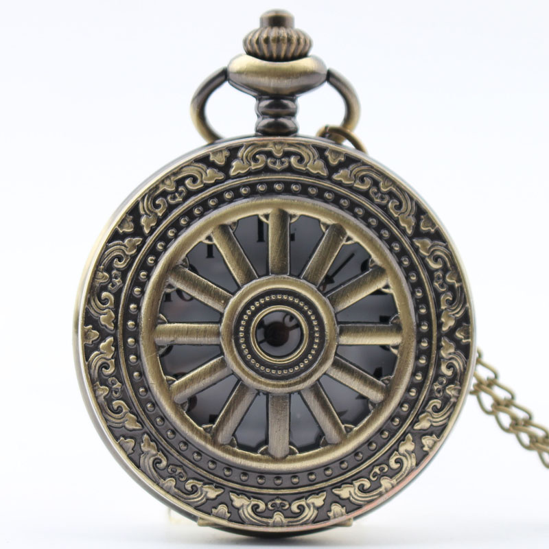 Pocket & Fob Watch Bronze Hollow Out Gear  Quartz Pocket Watch Necklace Pendant Watch Chain Xmas Watch Gift Men/Women
