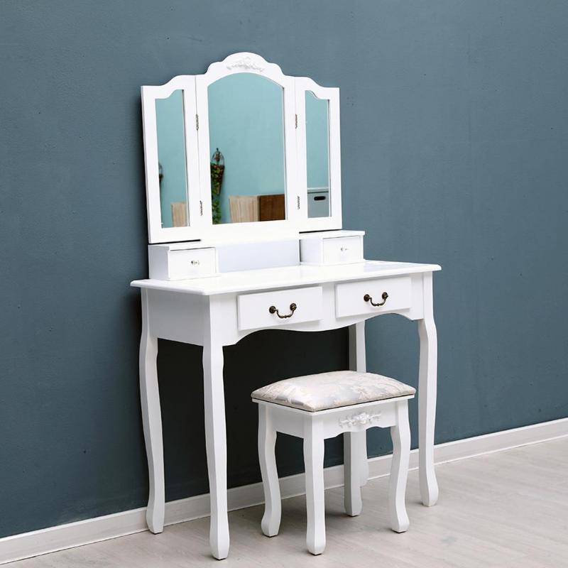 Tri-Folding Mirror Furniture Dressing Table Makeup Desk 4 Drawers with Stool for Women Girl Friend Gifts Home DecorationTri-Folding Mirror Furniture Dressing Table Makeup Desk 4 Drawers with Stool for Women Girl Friend Gifts Home Decoration