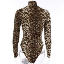 2019 Summer Woman Leopard Zipper Bodysuit, Sexy High Collar Long Sleeve Rompers, Women's Jumpsuit