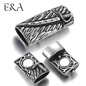 Stainless Steel Magnetic Clasp Blacken Feather Katana Hole 12*6mm Leather Cord Clasps Magnet Buckle Bracelet DIY Jewelry Making stainless steel magnetic clasps hole 12 6mm for leather cord bracelet magnet clasp buckle diy jewelry making supplies accessory