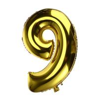 32 inch Thickened Helium Foil Balloons Birthday Number Balloons 9 for Wedding Anniversary Decoration (Gold)