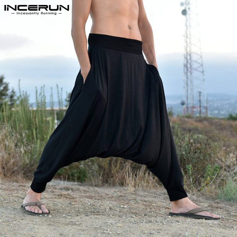 INCERUN Hiphop Mens Harem Pants Baggy Drop Crotch  Sweatpant Trousers Wide Legs Joggers Man Pants Clothing Pantalones Hombre