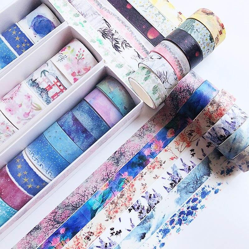 10Pcs/Set Cute Washi Tape Set Cartoon Plant Masking Tape Decorative Adhesive Tape For Kids DIY Scrapbooking Diary Photos Albums