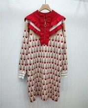 브랜드 2020 겨울 달콤한 레드 러브 프린트 여성 미니 드레스 런웨이 디자이너 골드 라인 프릴 크리스마스 파티 드레스 스웨터 의류