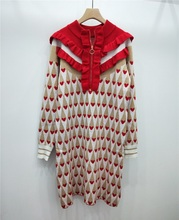 Marke 2020 Winter Süße Rot Liebe Druck Frauen Mini Kleid Runway Designer Gold Linie Rüschen Weihnachten Party Kleid Pullover Kleidung