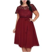 Women Vintage Lace  Patchwork A-line Dress Plus Size L-5XL Short Sleeve Midi Party Dress Casual Female Lace Up Chiffon Dress plus size short sleeve lace shift dress