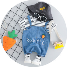 OKLADY Baby Girl Summer Tee Clothing Set Cute Fashion Radish T Shirt Denim Suspender Pants Boy Chic Vogue Kid Clothes