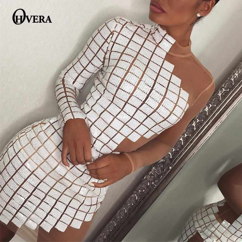 Ohvera на одно плечо в клетку Платья для вечеринок с блестками Для женщин, просвечивающее сексуальное платье с высоким воротом мини-платье, летнее платье, Vestidos