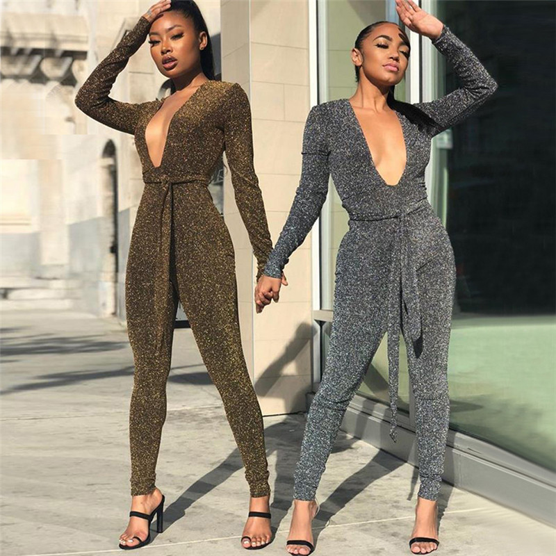 2019 Sexy  Sexy Deep V Neck Lurex Jumpsuit Rompers With Sashes Autumn Overalls For Women Long Sleeve Combinaison Pantalon Femme