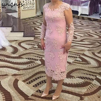 YNQNFS MD376 Elegant Mother of the Bride/Groom Dresses Sheath Long Sleeve Lace Appliques Party Formal Dress Vestido 2019