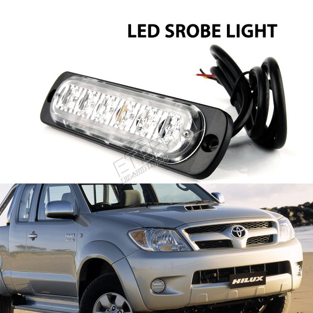 free10pc 6 led strobe light amber blue white green red emergency car motocycles pickup truck signal turn warning light lamp