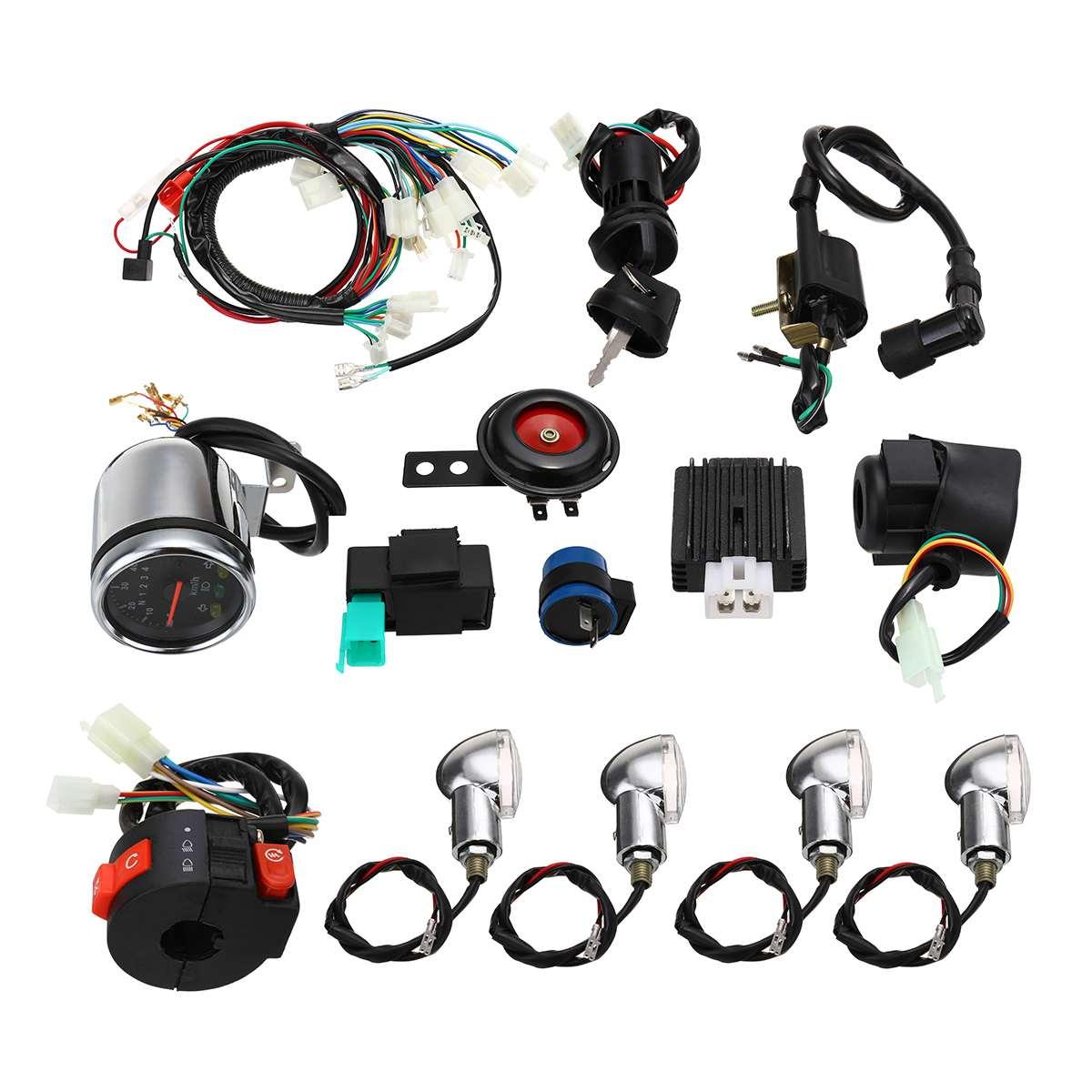 Motorcycle Full Electric CDI Start Engine Wiring Harness Loom Horn Turn Signal Light For 50cc 110cc 125cc Quad Dirt Bike ATV