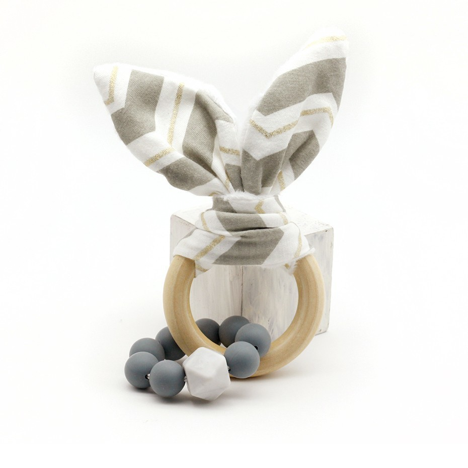 1pc Environmental Protection Montessori Organic Toy Rabbit Ear Wooden Bracelet Dental Toy Accessories Gift Baby Toys