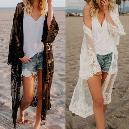 acf0d0d85 Autumn New Women Chiffon Kimono Beach Lace Loose Cardigan Bikini Cover Up  Wrap Beachwear Long Shirts
