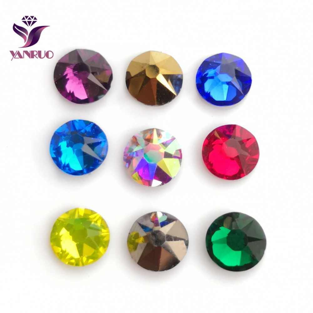 dcf9a3efa5 YANRUO 2088 Hot Fix Crystal Rhinestones Glass Hotfix Strass Stone Crystals  AB Iron on Clothes