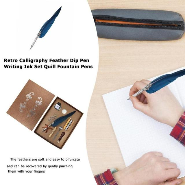 1set Retro Vintage Calligraphy Feather Dip Pen Writing Ink Set Stationery Quill Fountain Pens Creative Vintage Pen Dropshipping 2