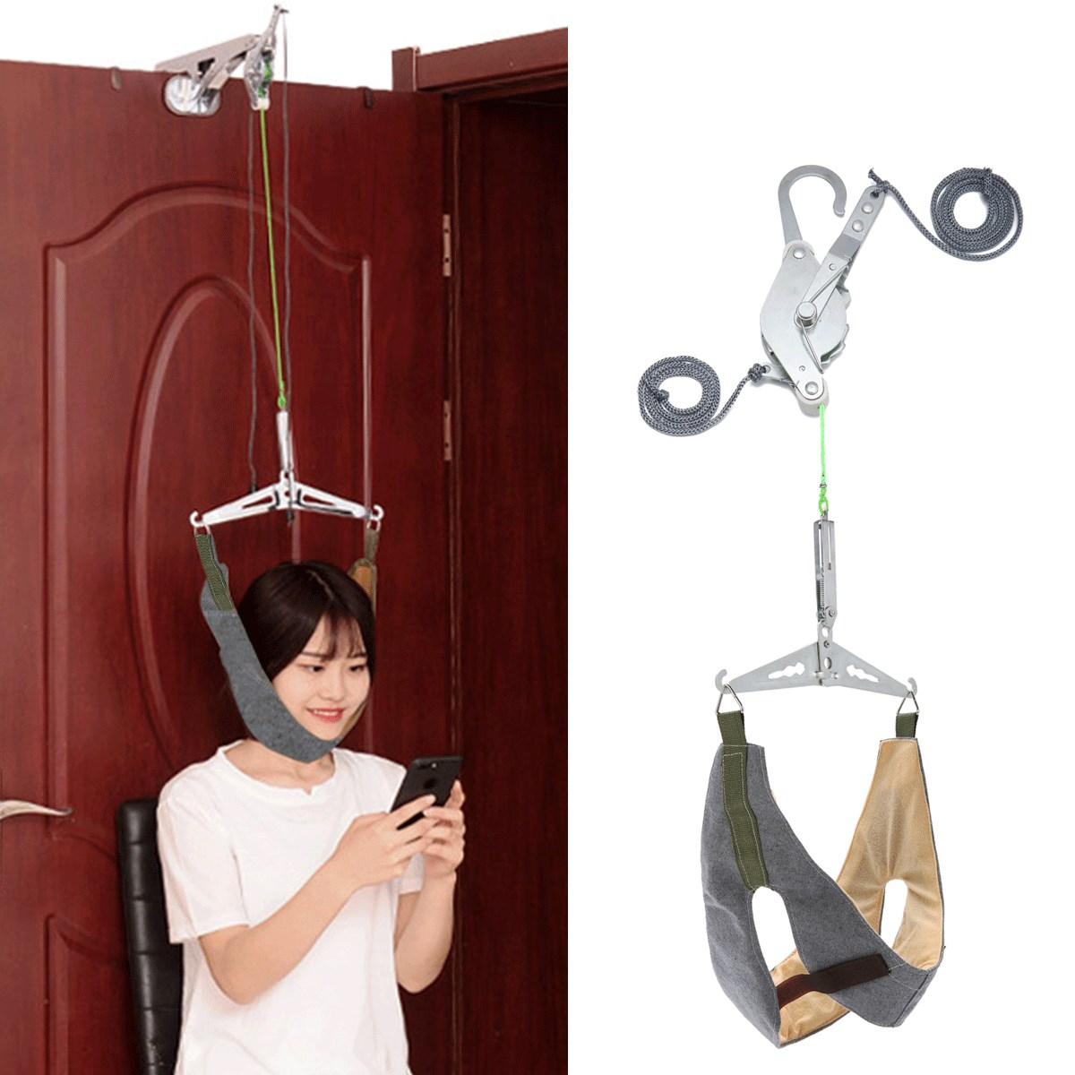 Cervical Traction Over Door Neck Massager Device Kit Stretcher Adjustable Chiropractic Back Head Massager Relaxation