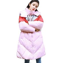 Fashion Pink Stitching Bright Color Down Jacket 2018 Winter Women Coat Long Padded Female Parka Manteau Femme Hiver LS37