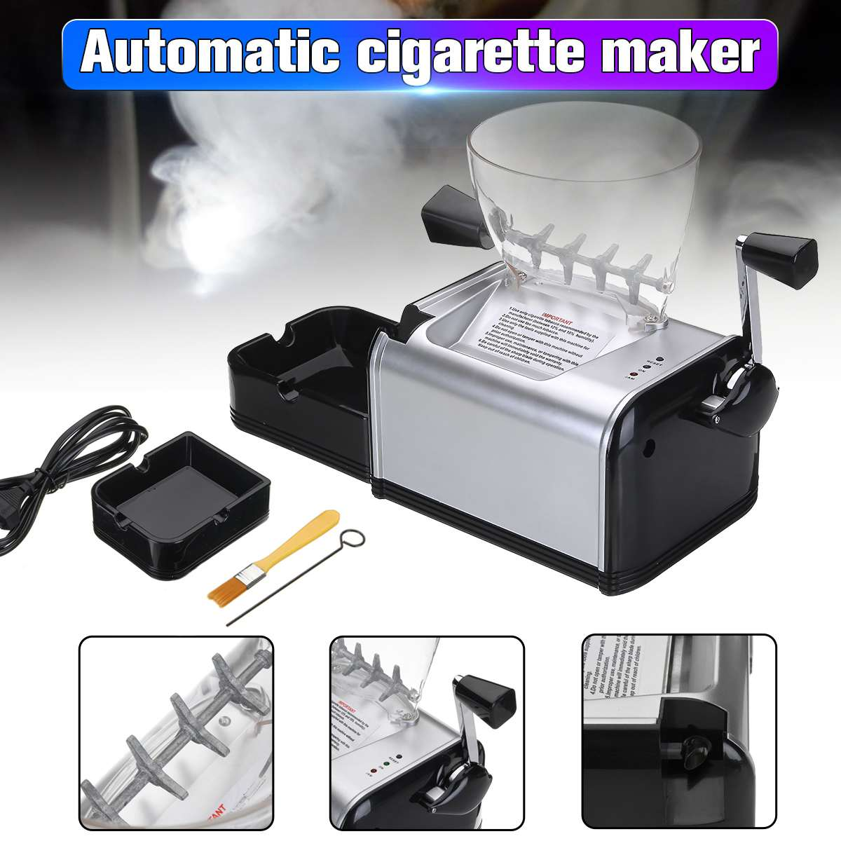 Nouveau 220 V automatique électrique faisant rouler la Machine à cigarettes tabac rouleau fabricant injecter 8mm Tube Portable outil de fumer