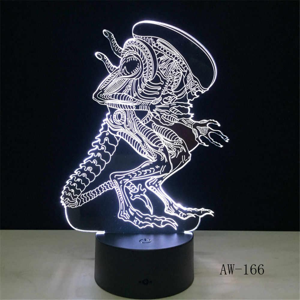 Film akcji Alien vs Predator prometeusz 3D lampa LED na USB 7 kolory zmieniające się oświetlenie nocne fajne zabawki dla chłopca sypialnia dekoracji AW-166
