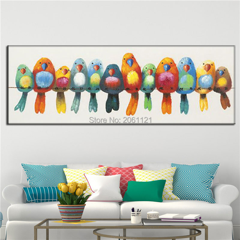 hand painted funny bird oil painting orange blue colorful birds wall pictures large long canvas painting for living room decor in Painting Calligraphy from Home Garden