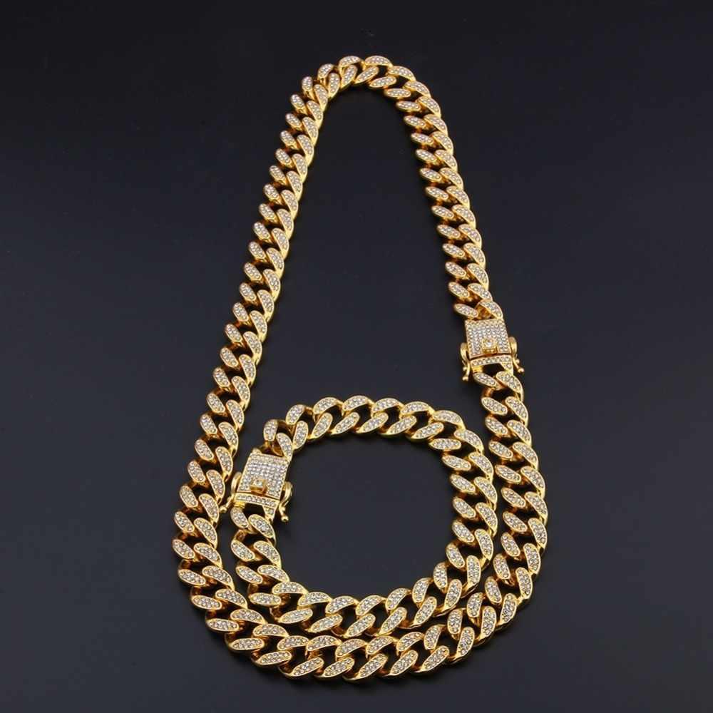 UWIN 13mm/20mm Miami kubański Link łańcucha naszyjnik i bransoletka pełny Iced Out dżetów Bling Bling hip hop biżuteria dla mężczyzn