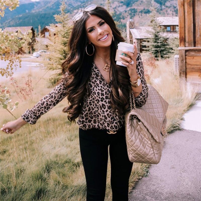 Fashion Women Long Sleeve Leopard Blouse V neck Shirt Ladies OL Party Top Dames Streetwear blusas femininas elegante Plus Size 4