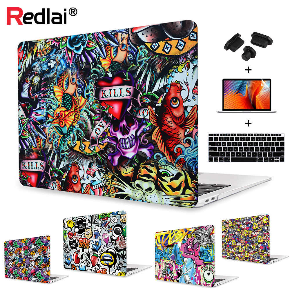 Redlai étui rigide en plastique pour Macbook Air Pro Retina 12 13 15 pouces tactile bar A1706 A1989 A1990 A1707 A1932 Graffiti Shell