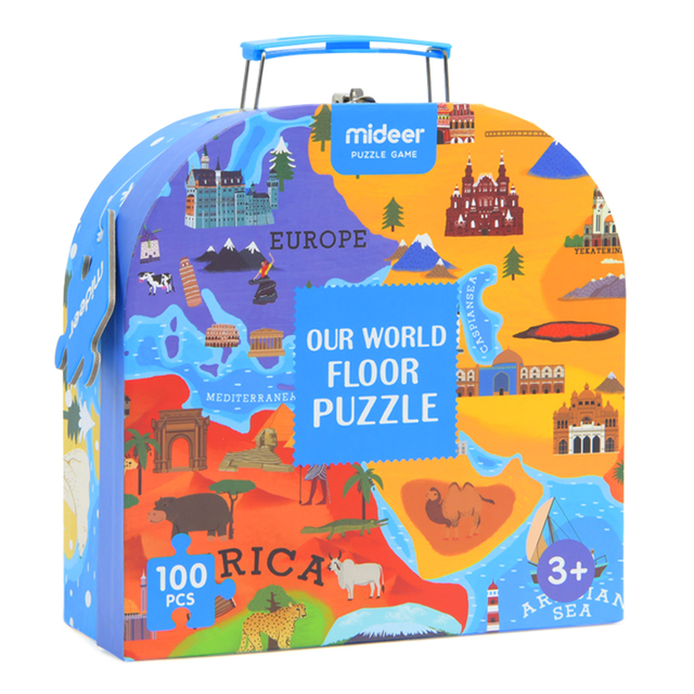 100Pc Puzzle Toy Educational Developmental Kids Training Toy Human Geography Jigsaw Portable Gift Box Learning Toys For Children