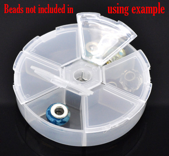 2 Beads Storage Containers W/6 Compartments 8x8x2cm (B11990)