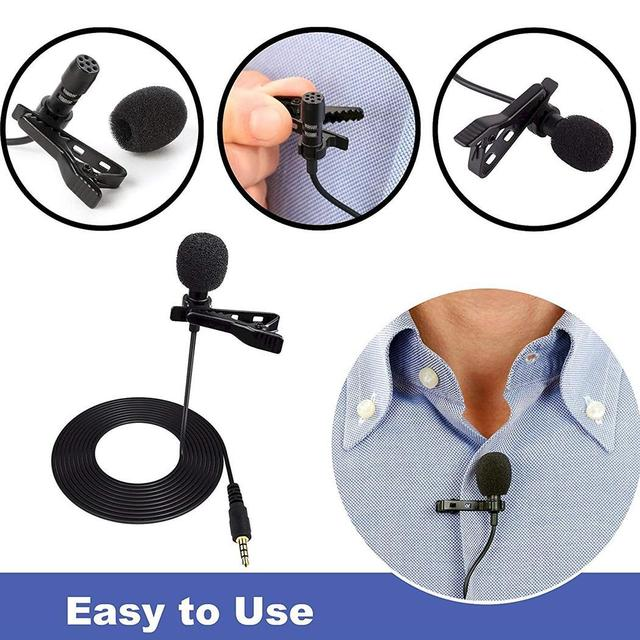 approx Microphone 59 30dB2dB Wired Mini Lapel 5m Condenser 1 Clip-on Black 3.5mm Hands-free Microphone 1inch