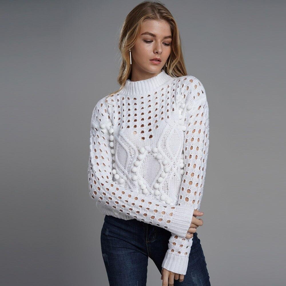 Women Sweaters Winter Casual Boho Streetwear Plus Size Loose Pullover Plain Hollow Female Fashion OL Elegant White Tops Knitwear