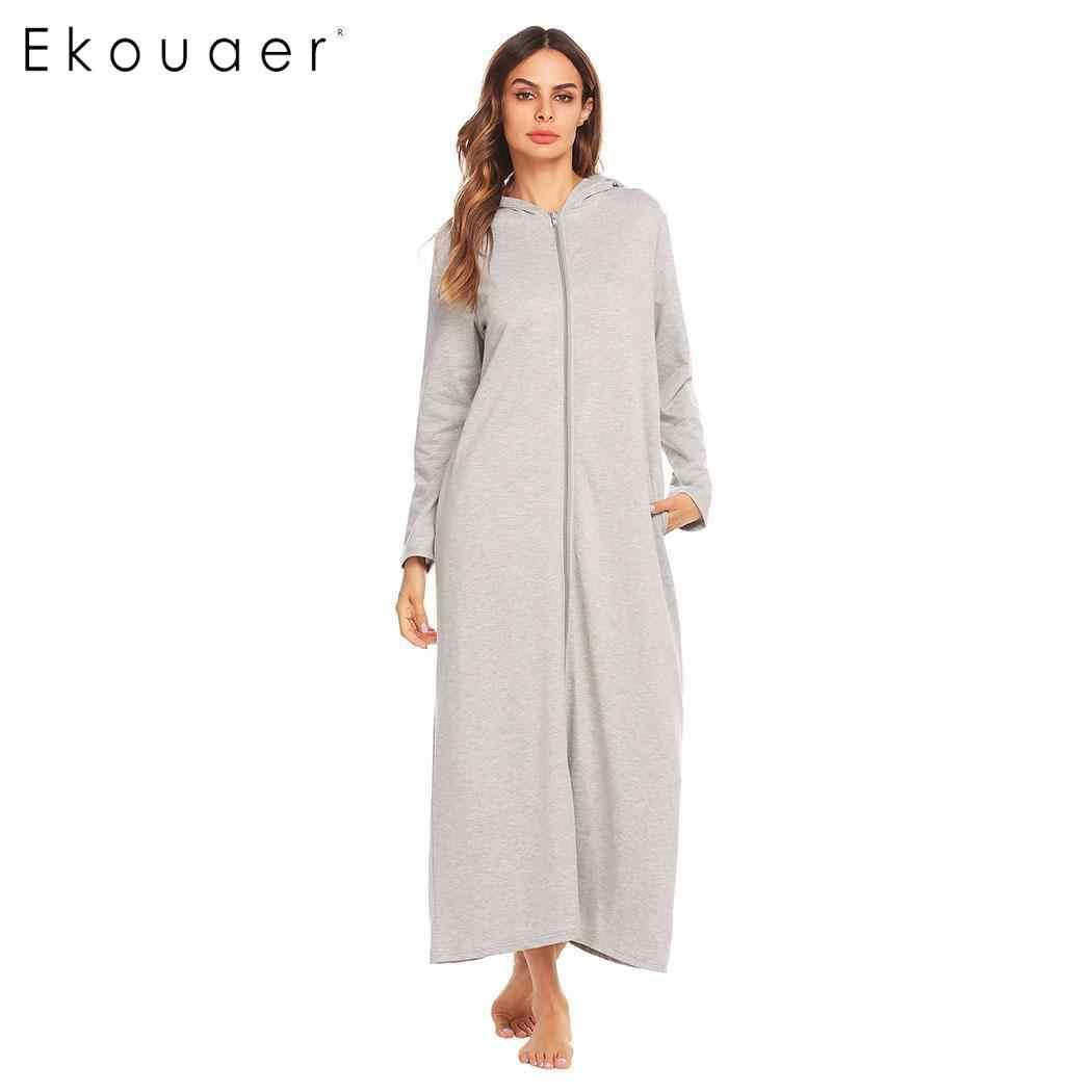 ... Ekouaer Robes Women Dressing Gown Bathrobes Zip-front Women Long Sleeve  Hooded Bathrobe Spa Kimono ... 1ca396d3b