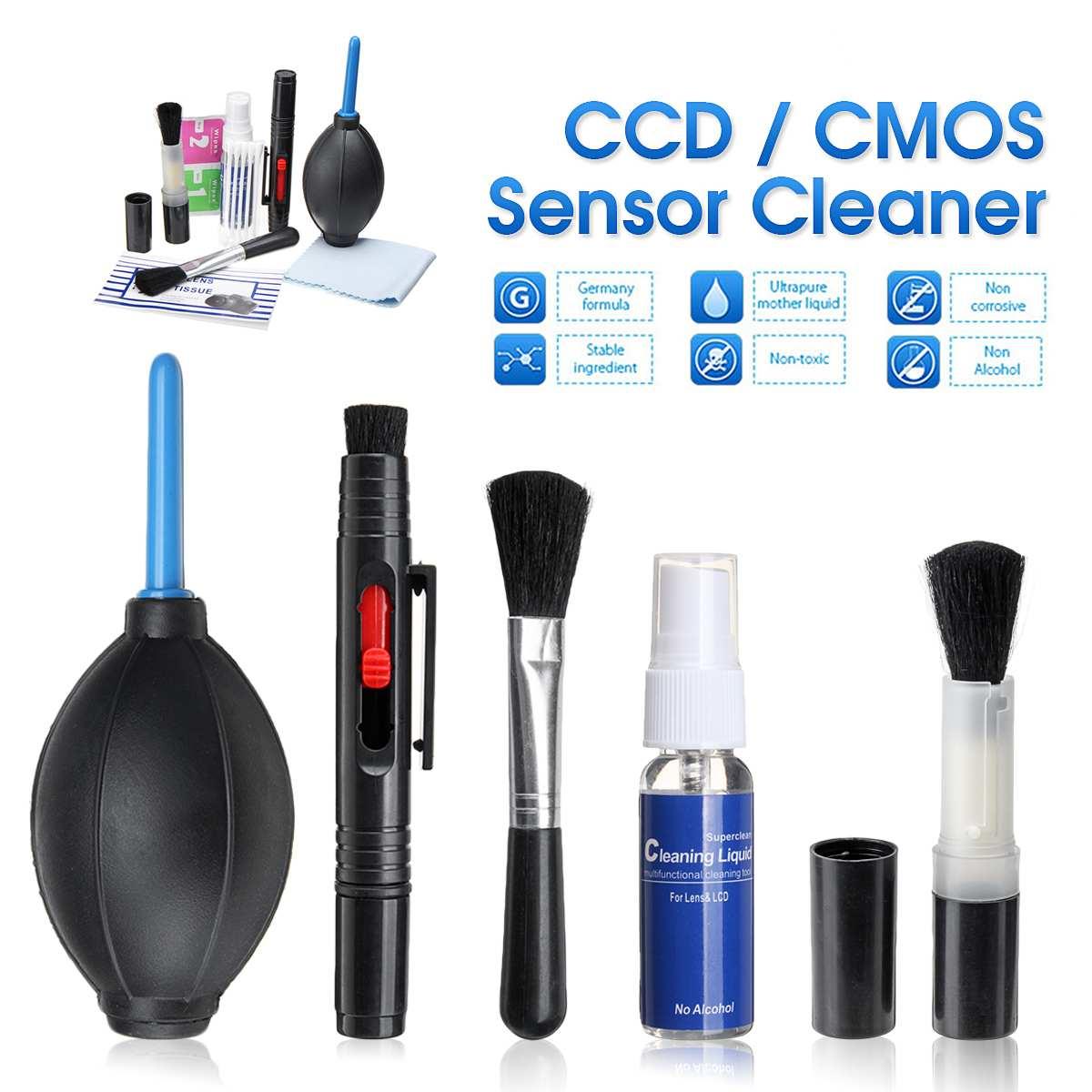 9 em 1 cmos/ccd sensor limpeza cotonete líquido mais limpo lente caneta kit para dslr câmera tela do telefone móvel lente óptica sem estática