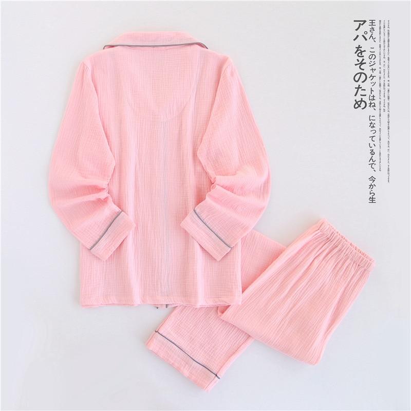 Image 3 - 100% Cotton Crepe Long sleeved Breast Feeding Pajamas Solid Pijama Mujer Summer Plus Size Pijamas Loungewear Sleepwear Home Set-in Pajama Sets from Underwear & Sleepwears