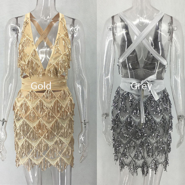 Gold sequined deep v open back mini dress