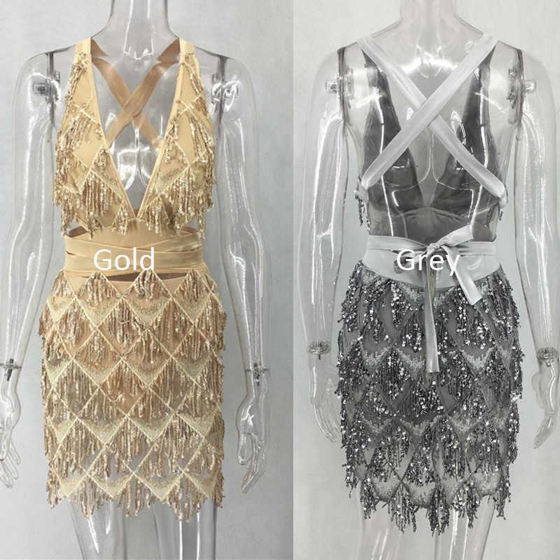 bafe063367ad ... 2018 Hot Sequin Backless Bandage Dress Bodycon Women Sexy Nightclub Party  Mini Dress Black Bandage Deep ...