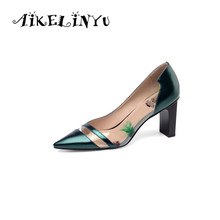 AIKELINYU Blue Women Pumps Cowhide high heels Shoes Transparent Square Heel Sexy Party Shallow Pointed Ladies Elegant Pump