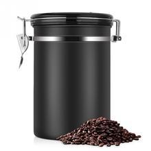 Контейнер для кофе, большой герметичный контейнер из нержавеющей стали для хранения чая, черный контейнер для хранения на кухне