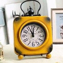 New Desk Table Clocks Retro Vintage Square Wrought Iron Clock Home Desktop Decoration 18.8x4.5x31.5cm Small For