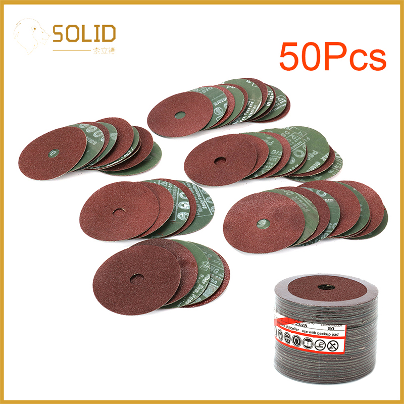 """5 Inch Resin Fiber Disc Grinding Sanding Discs with 5/8"""" Arbor for Angle Grinder Rotary Abrasive Tool Accessories, Pack of 50"""
