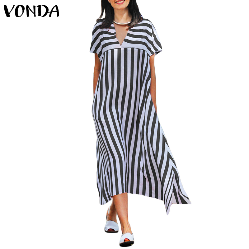 Women Striped Dress 2019 Summer VONDA Sexy Female V Neck Short Sleeve Casual Loose Party Dresses Oversized Plus Size Vestidos