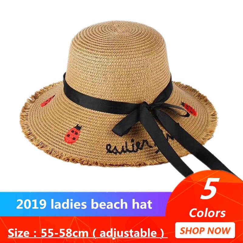 Handmade Sun Hat Black Ribbon Lace up Large Brim Straw Hat Outdoor Beach Cap
