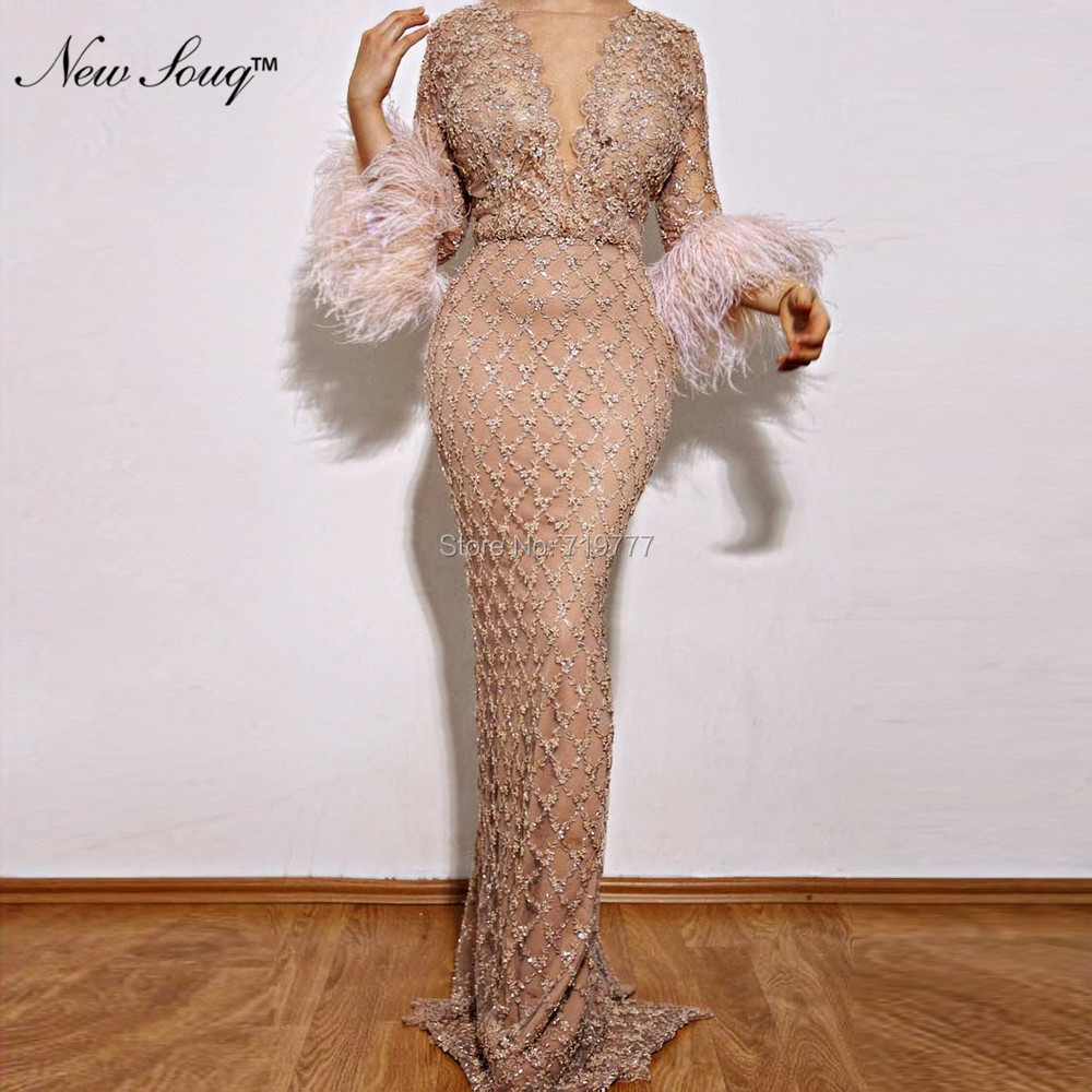 Beaded Arabic Formal   Evening     Dresses   2019 Couture Feather Dubai Prom   Dress   Abendkleider V Neck Party Gowns Robe De Soiree